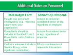 additional notes on personnel