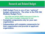 research and related budget
