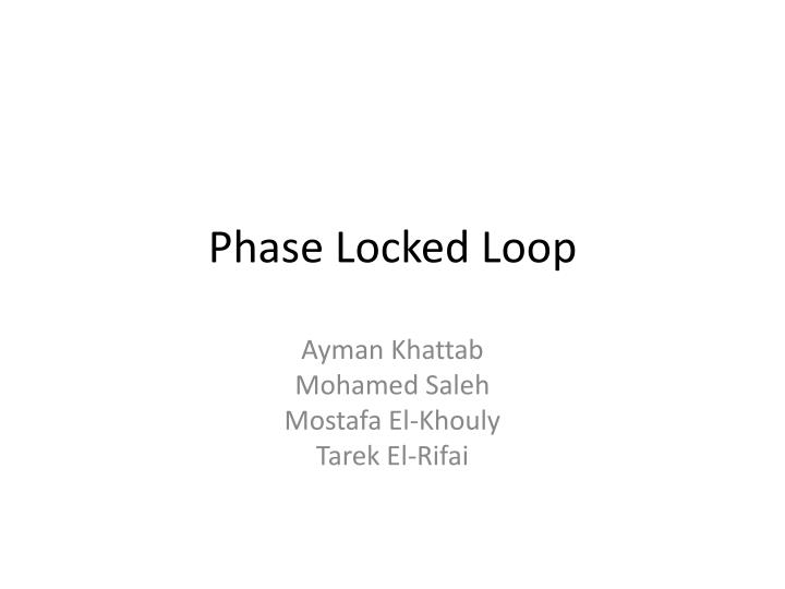 phase locked loop n.