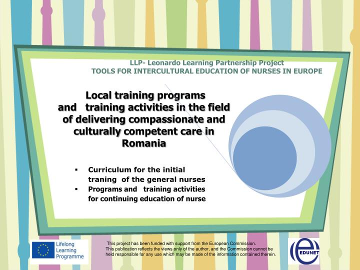 llp leonardo learning partnership project tools for intercultural education of nurses in europe n.