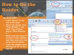 how to do the header1