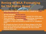 review of mla formatting for the entire essay