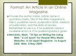 format an article in an online magazine