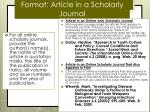 format article in a scholarly journal
