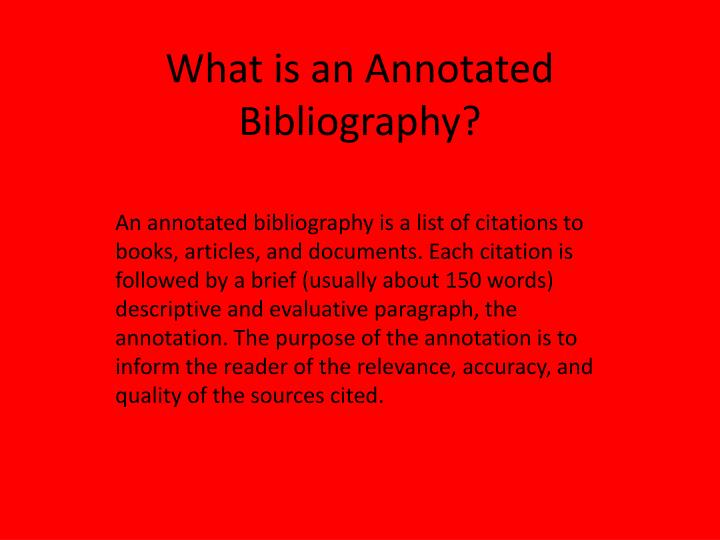what is an annotated bibliography n.