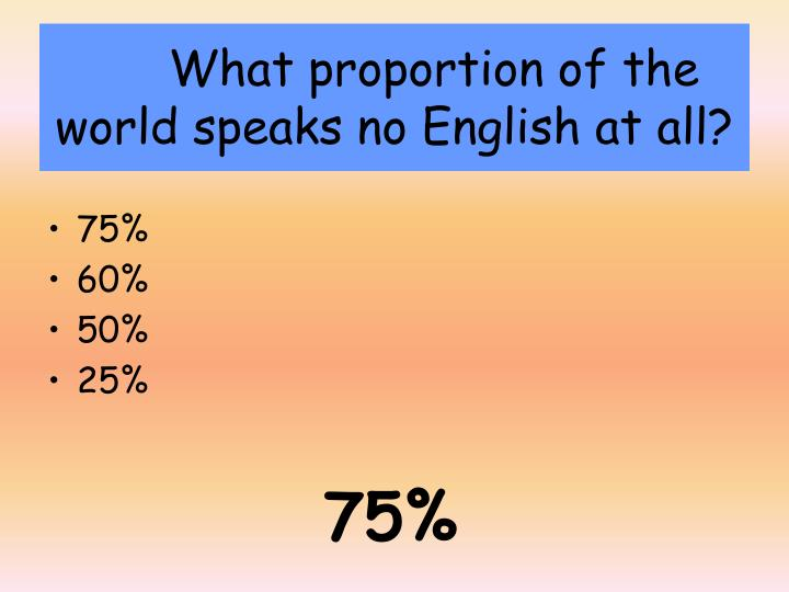 What proportion of the world speaks no English at all?