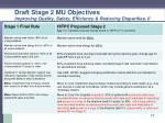 draft stage 2 mu objectives improving quality safety efficiency reducing disparities ii