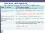 draft stage 2 mu objectives improving quality safety efficiency reducing disparities1