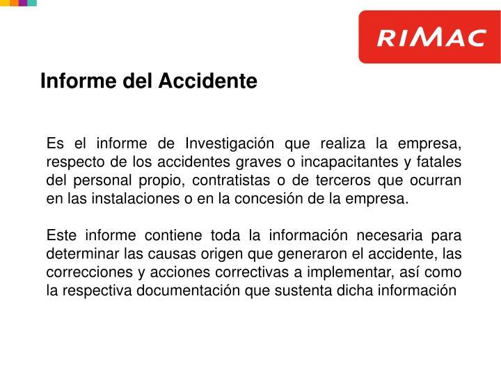 Informe del Accidente