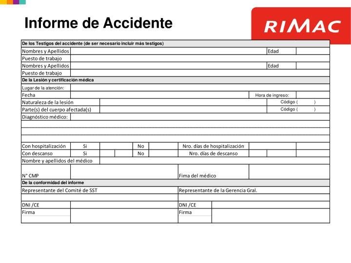 Informe de Accidente