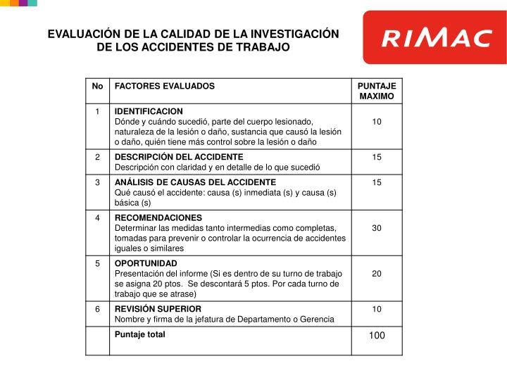 EVALUACIÓN DE LA CALIDAD DE LA INVESTIGACIÓN DE LOS ACCIDENTES DE TRABAJO