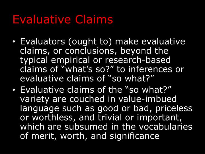 Evaluative Claims