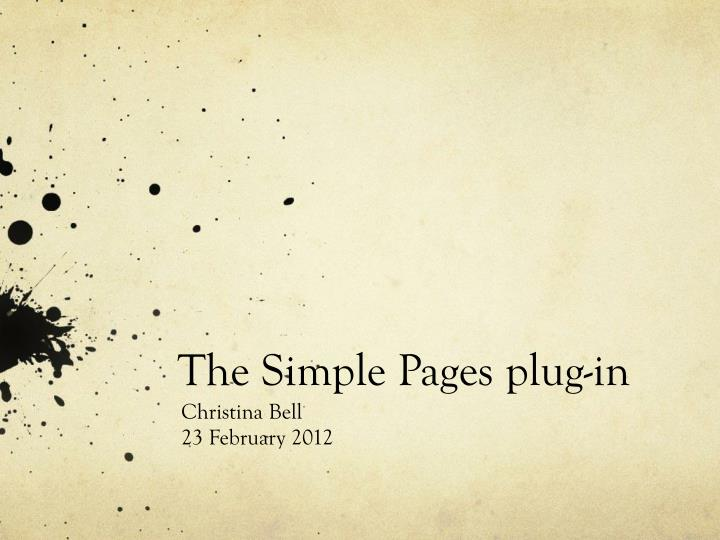 the simple pages plug in n.