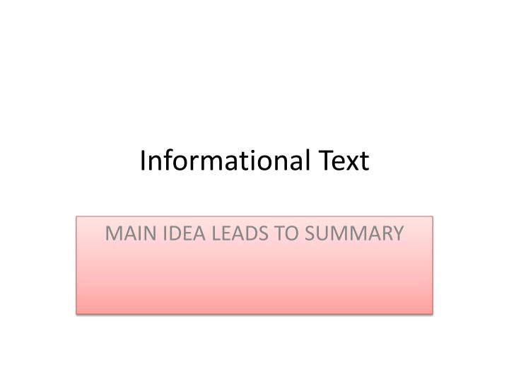 informational text n.