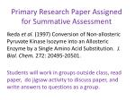 primary research paper assigned for summative assessment