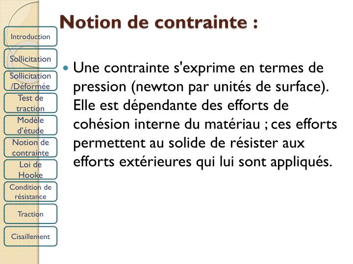 Notion de contrainte :
