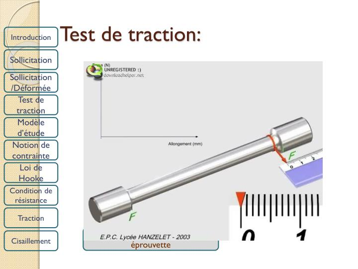 Test de traction: