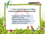 1 i can synthesize my ideas about rainforests following the science talk