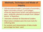 methods technique and mode of inquiry