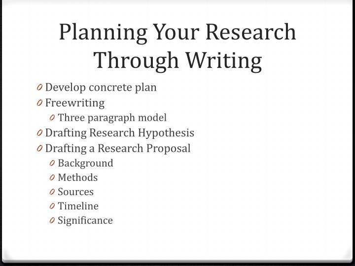 Planning Your Research Through Writing