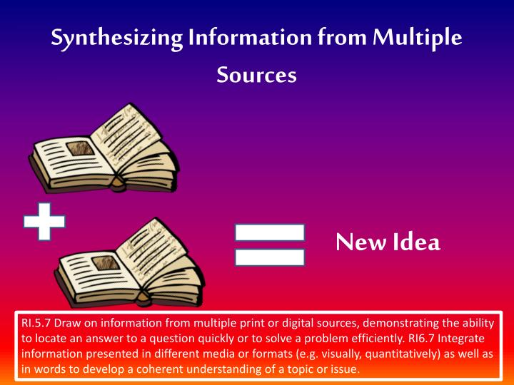 synthesizing information from multiple sources n.