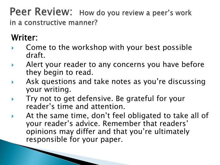 Peer Review: