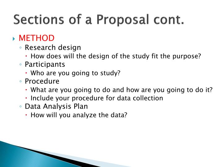 Sections of a Proposal cont.