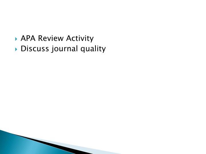 APA Review Activity