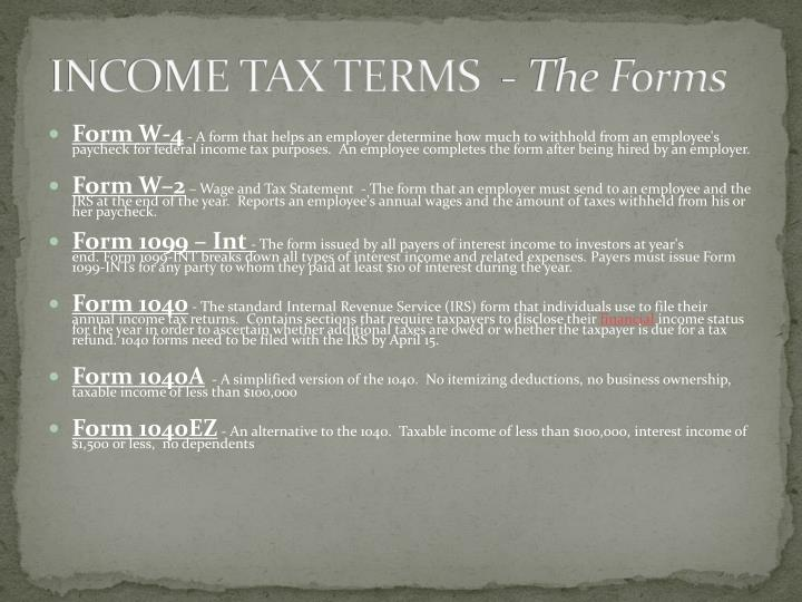 INCOME TAX TERMS  -