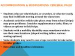 accommodations modifications cerebral palsy