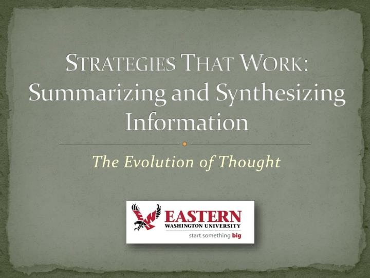 strategies that work summarizing and synthesizing information n.