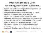 important schedule dates for timing distribution subsystem