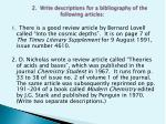 2 write descriptions for a bibliography of the following articles