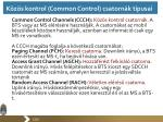 k z s kontrol common control csatorn k t pusai