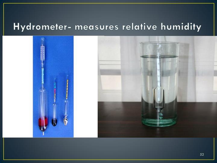 Hydrometer- measures relative humidity