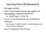 quoting verse shakespeare