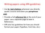 writing papers using apa guidelines