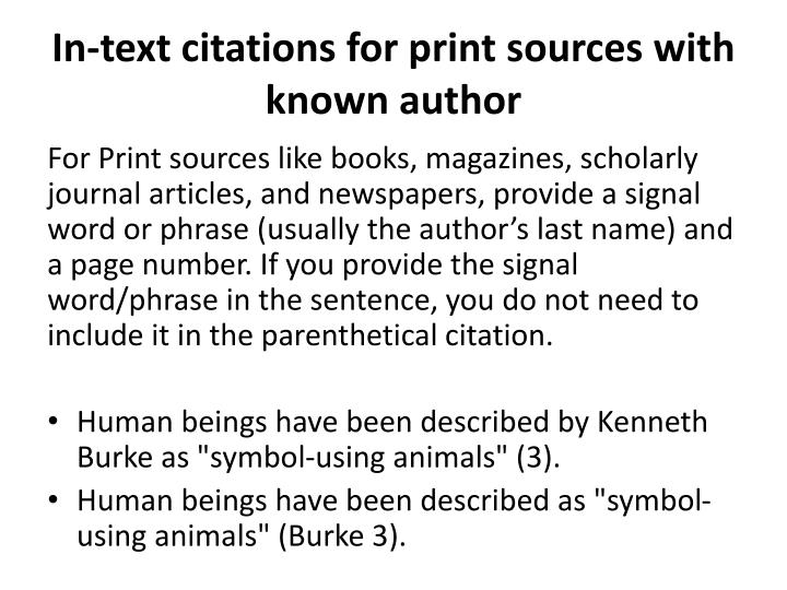 In-text citations for print sources with known author