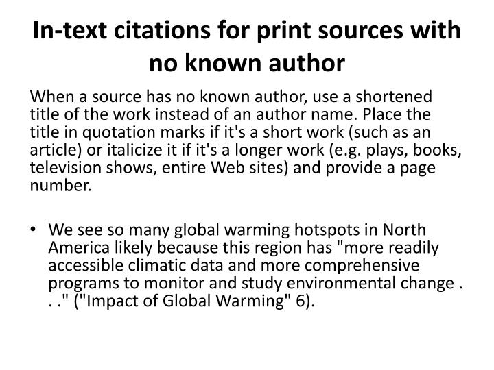 In-text citations for print sources with no known author