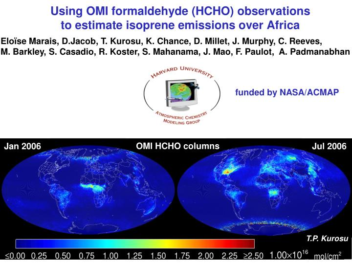 using omi formaldehyde hcho observations to estimate isoprene emissions over africa n.