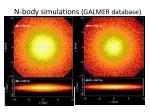 n body simulations galmer database