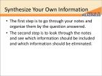 synthesize your own information