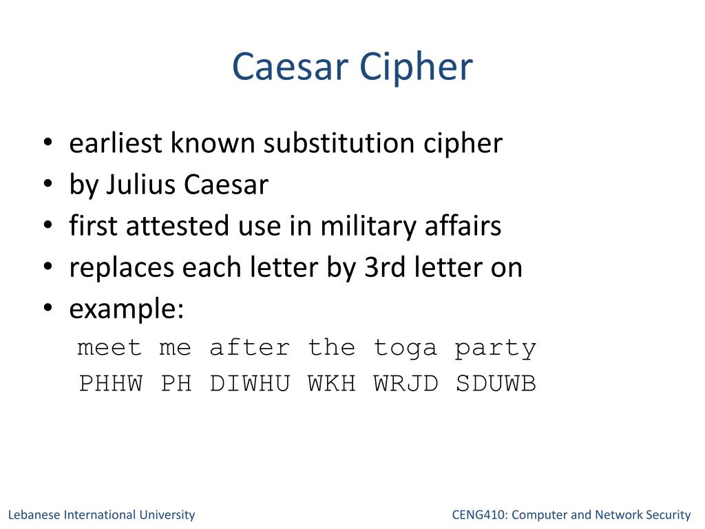 PPT - Cryptography Classical Ciphers PowerPoint Presentation