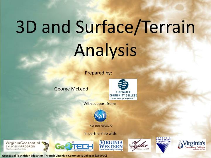3d and surface terrain analysis n.