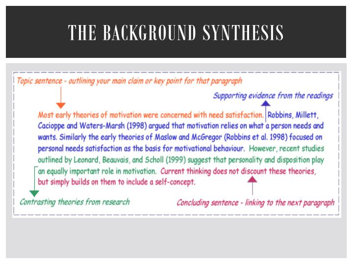 The Background Synthesis