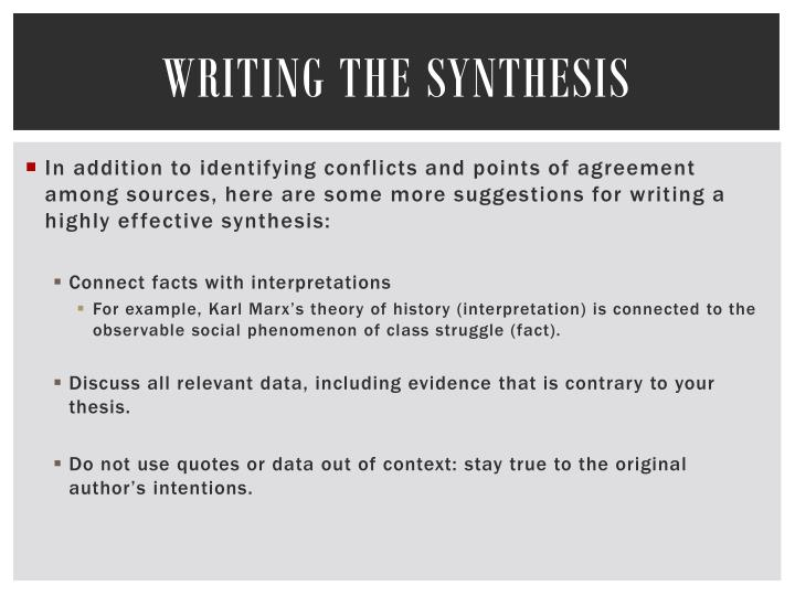 Writing the Synthesis