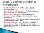 issues guidelines are open to interpretation