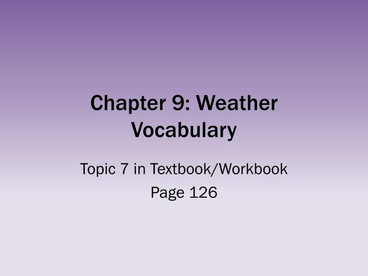 chapter 9 weather vocabulary n.