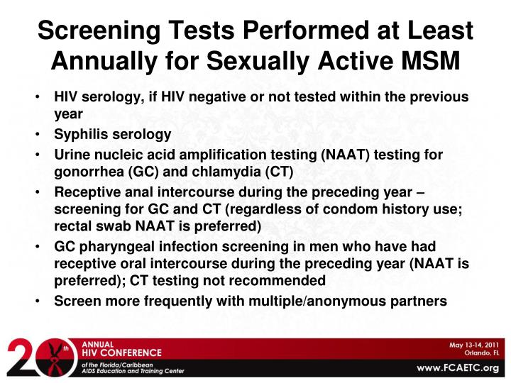 Screening Tests Performed at Least Annually for Sexually Active MSM