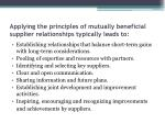 applying the principles of mutually beneficial supplier relationships typically leads to